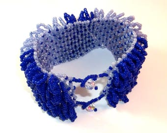 Blue Seed Bead  Fringe Cuff Bracelet