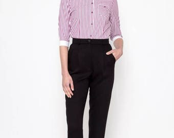 30% OFF High Waisted Pants (Black) / Retro Pants / Viscose Pants / Vintage Pants / Vintage Trousers / Pleated Pants
