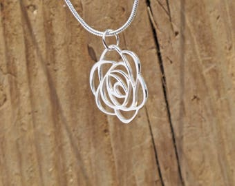 Sterling Silver Art Deco Rose Pendant Flower Necklace Tiffany Glass