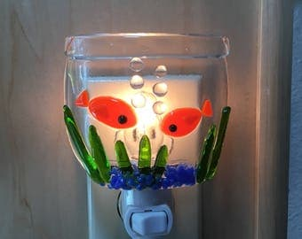 Fused glass goldfish in bowl nightlight