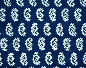 10% Off On Indigo blue and white paisley design block print fabric