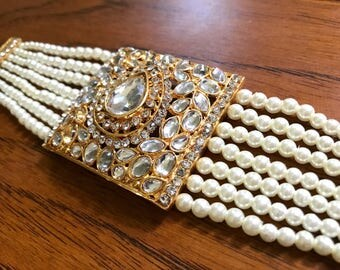 Adjustable Pearl Kundan Bracelet