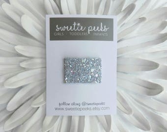 Infant Glitter Snap Clip | Petite Tiara Gray Glitter Snap Clip | Baby Hair Accessory | Toddler Hair Clip | Toddler Glitter Clip