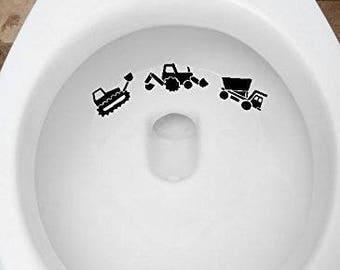 Toilet Targets Construction Trucks Aim Practice 3 Piece Collection Vinyl Decal Sticker Application Kids Fun