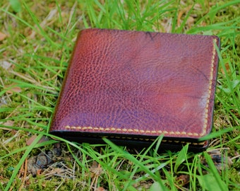 Leather Wallet  - A Handmade Bi-fold Leather Wallet - Leather Billfold Wallet