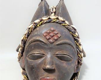 African female Okuyi tribal mask-PUNU-Gabon-tribal art-tribal art Africa-ancestor mask-gift for men woman