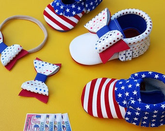 American Flag Genuine Leather bow