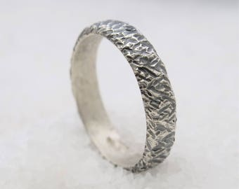 Man band ring, engagement and wedding ring, made of oxidized silver