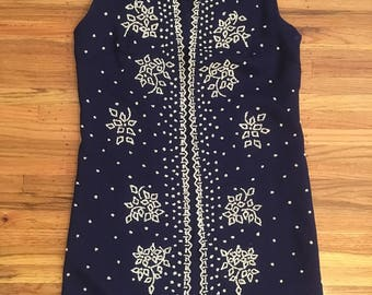 1960's navy blue beaded vest