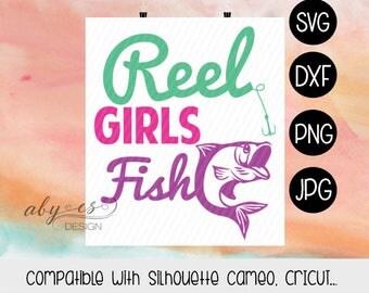 Reel Girls Fish SVG, Fishing Girls, Dxf,Png, Jpg, Silhouette, Cameo, Cricut, Cut Files, Iron On Transfer Image.