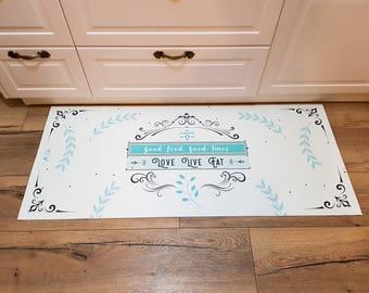 Pvc vinyl mat,personalized rug,floor mat, pvc carpet,kitchen rug,art mat,personal design, spring leaves.