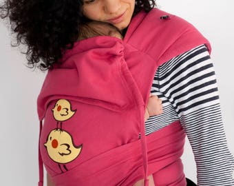 Mai Tai Baby Carrier  It is sewn from Kaya for Newborn and Toddler - natural organic woven jackard - Sweet birds - Jam
