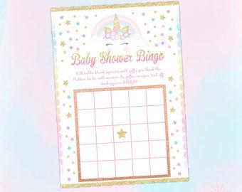 Unicorn Baby Shower Bingo Game, Printable Baby Shower Game, Unicorn Baby Shower