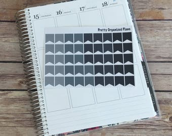Monochrome Small Page Flags || 45 Planner Stickers