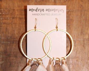 Silk Tassel Hoop Earrings | Neutral Tassels, Boho Tassels