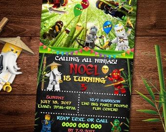 Ninjago Birthday Invitation Card, Birthday Card, For Kids, Lego