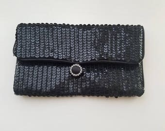 One of a Kind! Disco/Party Clutch Purse! Black Beaded Sequin with Rhinestone Closure - Perfect Condition! Classic 1970's/1980s Fashion!
