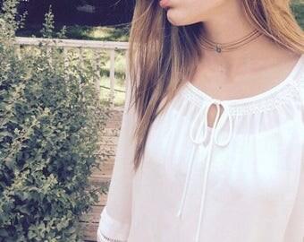 camel brown choker necklace -  boho choker necklace - genuine suede - SALE