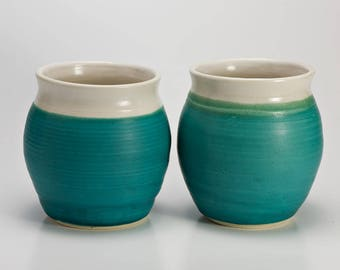 2 x Hand Thrown Aqua Blue Tumbler Tea Cup Wine