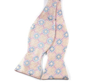 Soft Pink and Lavender Floral Silk Bow Tie