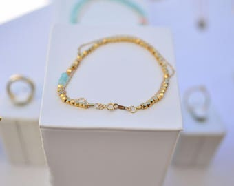 Beaded and chain bracelet