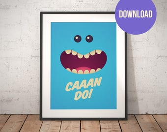 Rick and Morty Mr. Meeseeks Poster Print Wall Art Download