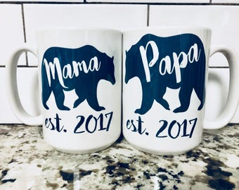 Mama Bear and Papa Bear - Mama Bear - Papa Bear Mama Bear and Papa Bear Coffee Mugs - Couples Coffee Mugs - New Parents Coffee Mug - A Set
