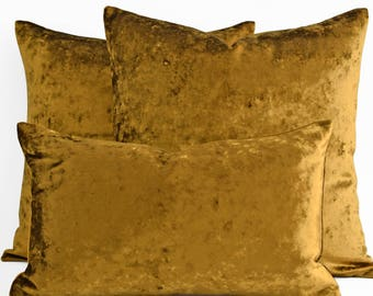 12 14 16 18 20 22 24 26 solid gold crushed velvet pillow covers decorative