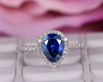 6x8mm Sapphire Engagement Ring/14k white gold diamond band/Halo Stacking /Pear Cut wedding ring/Blue birthstone gift/Pave set/Half Eternity