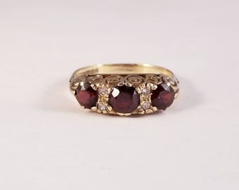 Vintage garnet and diamond ring in yellow gold