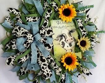 Cow Wreath, Farm House Wreath, Spring Wreath, Farmhouse Decor, Summer Wreath, Cow Decor for Wall, Mothers Day Gift, Front Door Decor
