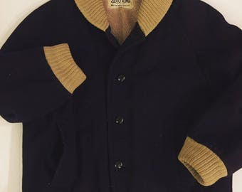 Vintage bomber Jacket 1960's wool bomber jacket navy blue beige knit LARGE size 44