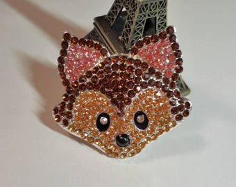 Handsome Sparkly Fox Face Rhinestone Needle Minder