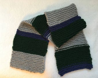 Gray, Green and Blue Soft Knit Winter Scarf