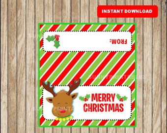 Christmas Treat Bag Toppers, Christmas Bag Topper Printable DIY Party Favors, Holiday Bag Tags Christmas Labels Instant Download
