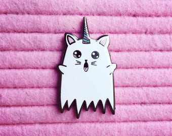 Caticorn Ghostie Enamel Pin