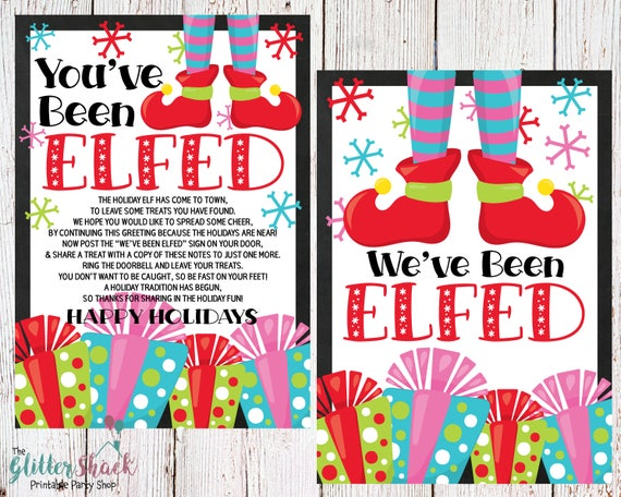 Printable You've Been Elfed Sign & Treat Tag - Happy Holidays