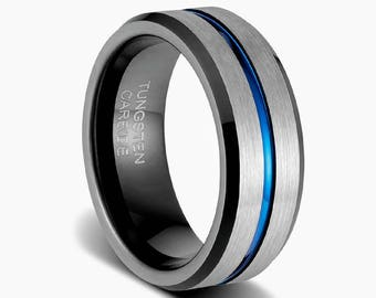 Mens wedding band, blue mens ring, mens wedding ring, black tungsten ring, black rings, mens promise ring, blue tungsten ring,promise ring