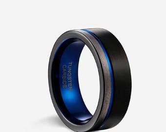 mens wedding bandwedding ring black band blue and black wedding band - Black Wedding Ring For Him