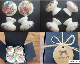 Set of 4 Hand Decorated Flowers and Birds Drawer Knobs Pulls