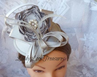 Grey ( Gray ) Satin Hat Fascinator, OOAK, Bridal Hat, Races Hat, Derby Hat, Melbourne Cup