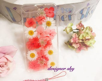 For iphone 7/8 plus Handmade pressed flowers cellphone soft Silicone case for iphone 8 plus iphone 7 plus case
