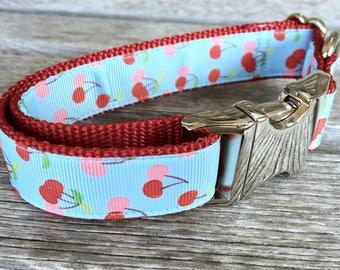 "Retro Cherry 1"" Wide Dog Collar, Fruit Dog Collar, Cherry Dog Leash, Nylon Webbing Collar, Silver Buckle Dog Collar"