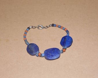 lapis lazuli beaded bracelet with a lobster claw fastener