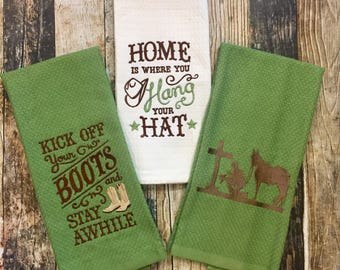 Country Kitchen Towels - Home is Where You Hang Your Hat - Praying Cowboy and Horse - Embroidered Hand Towel - Kick off Your Boots & Stay
