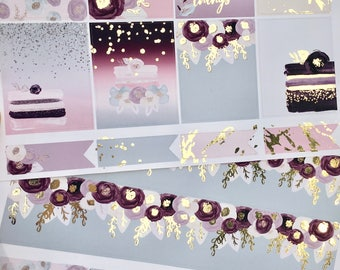 Cakes & Flowers Light Gold Foiled Classic HAPPY PLANNER Weekly Decorative Sticker Set