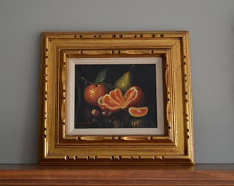 Vintage Oil on Canvas Fruit Painting - Framed and Signed - C. Cooper