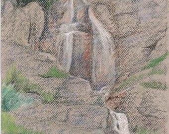 "Stewart Falls, Utah - Original Conte Crayon Drawing - 12"" x 9"" Unframed"
