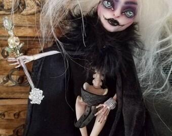 OOAK Santa Muerte Angel of Death Monster High Skelita Calaveras Repaint Rehair w/ Custom Accessories, Wings, and Full Body Blushing