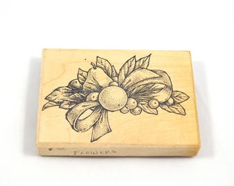 Fruit Rubber Stamp, Pear and oranges, bow, Toomuchfun Rubberstamps, Wood Mounted Stamp